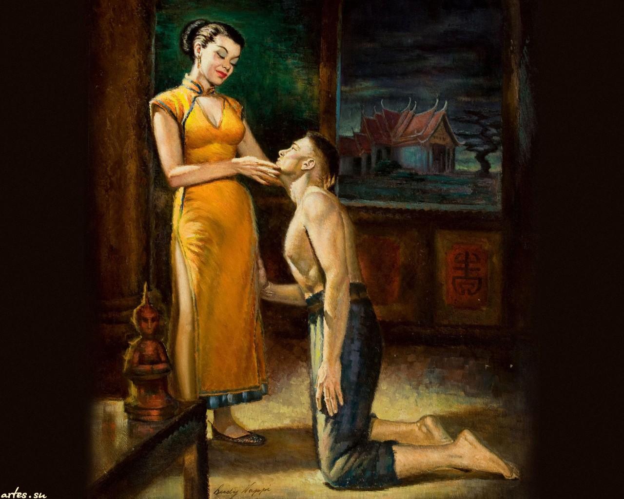 Раб на коленях, Раб на коленях трахает молодую хозяйку страпоном на 14 фотография
